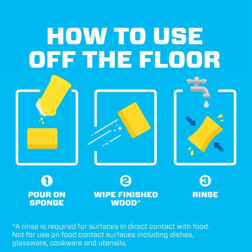 Infographic of 3 easy steps to use Mr. Clean all purpose cleaner on non-floor surfaces