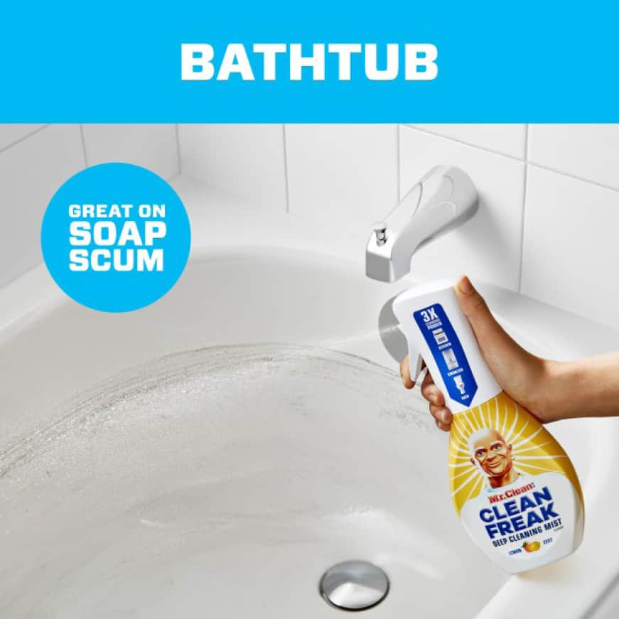 Mr. Clean Clean Freak removes soap scum and grime from bathtubs and more