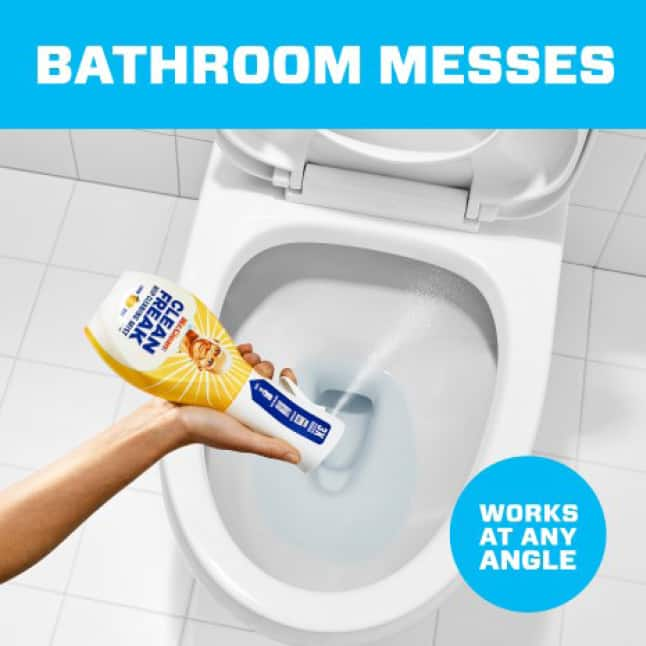 Mr. Clean clean freak works at ay angle to easily clean bathroom and other messes