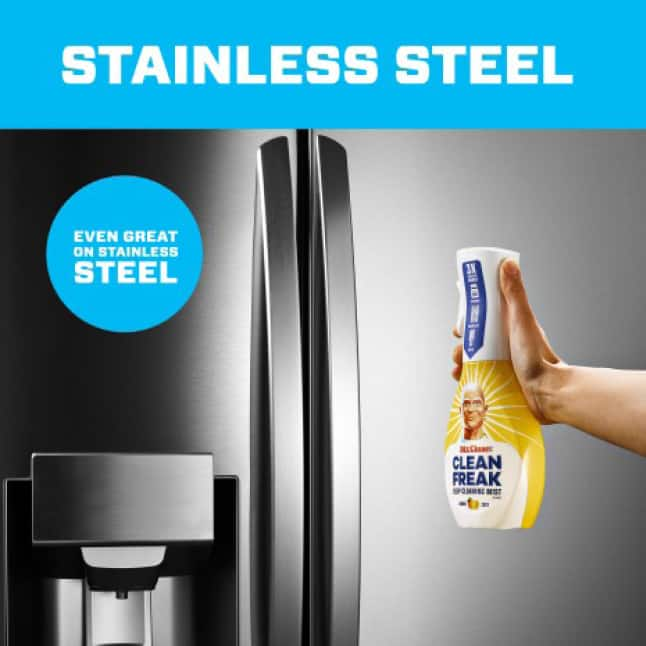 Mr. Clean clean freak works great even on stainless steel