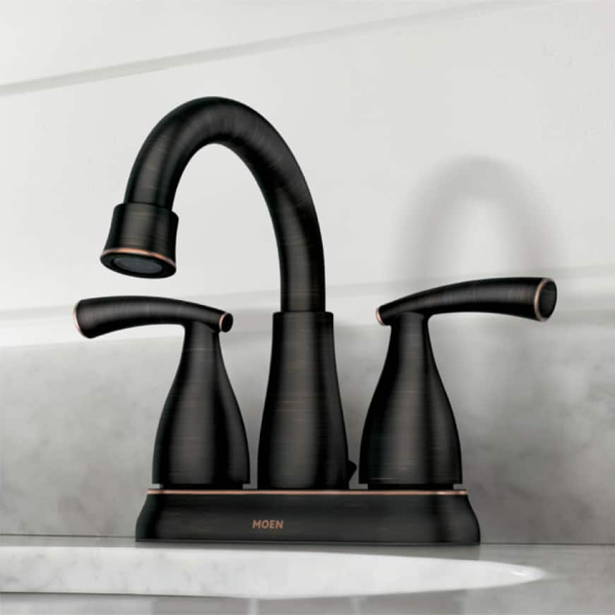The graceful design epitomizes the transitional style of the Essie centerset bathroom faucet. An elegant base and handle leave a lasting impression.