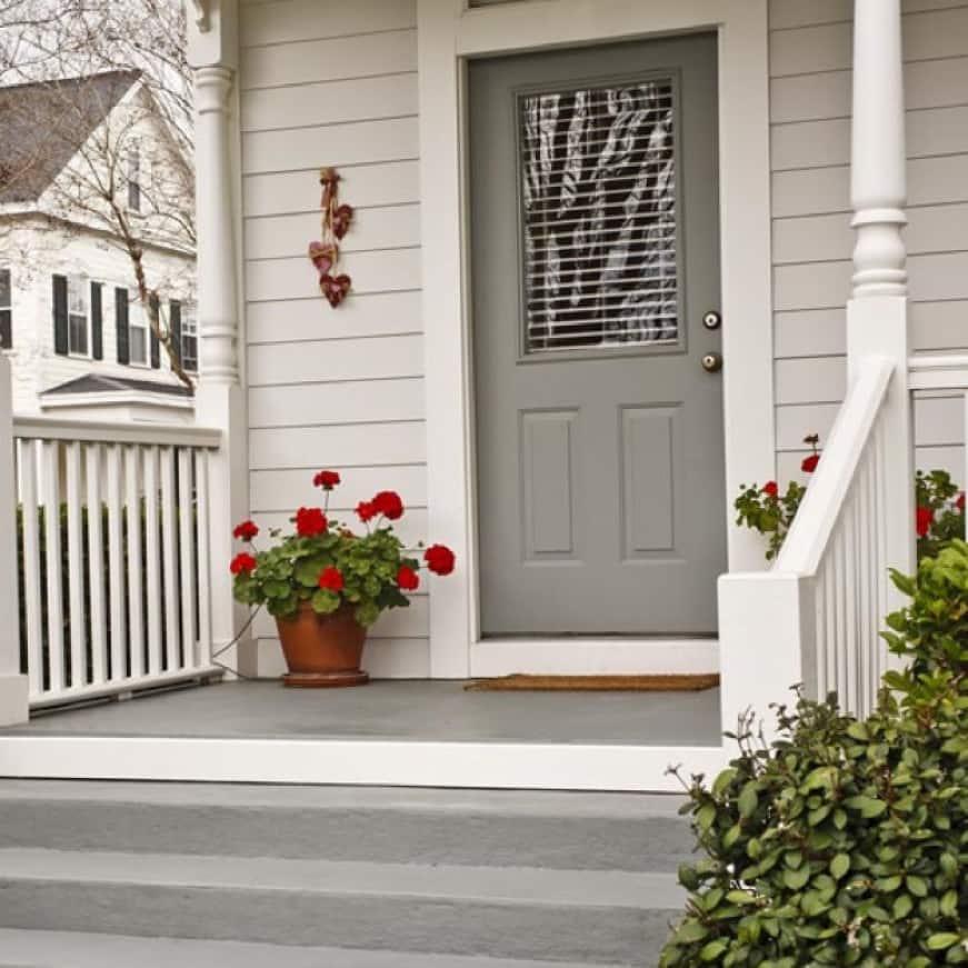 Freshly Painted Gray Front Door