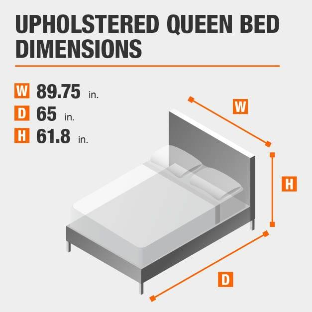 Upholstered Queen Bed Dimensions of 89.75 inches wide, 65 inches deep, 61.8 inches high.
