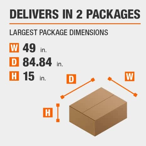 Delivers in 2 Packages with the Largest Package Dimensions of 49 inches wide, 84.84 inches deep, 15 inches high.