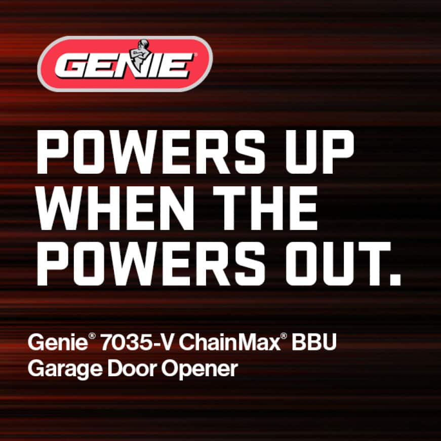 Genie making safe, reliable garage door openers with the peace of mind of an automatic battery backup