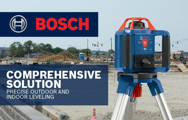Bosch GRL 800-20 HVK being used on outdoor jobsite for leveling and grading.