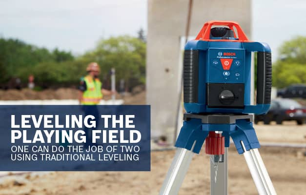 Bosch GRL 800-20 HVK being used with target for long distance leveling.