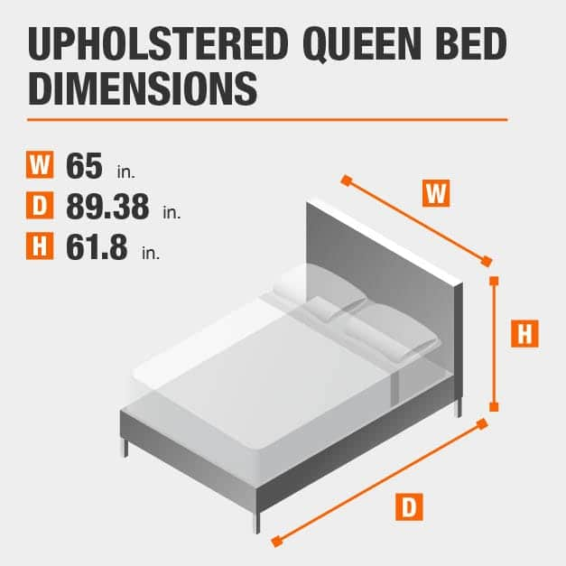 Upholstered Queen Bed Dimensions of 65 inches wide, 89.38 inches deep, 61.8 inches high.