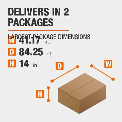 Delivers in 2 Packages with the Largest Package Dimensions of 41.17 inches wide, 84.25 inches deep, 14 inches high.
