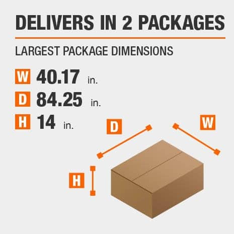 Delivers in 2 Packages with the Largest Package Dimensions of 40.17 inches wide, 84.25 inches deep, 14 inches high.