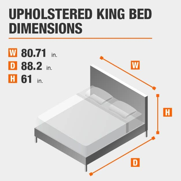 Upholstered King Bed Dimensions of 80.71 inches wide, 88.2 inches deep, 61 inches high.