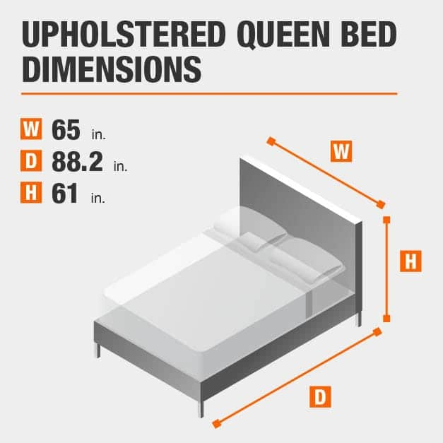 Upholstered Queen Bed Dimensions of 65 inches wide, 88.2 inches deep, 61 inches high.