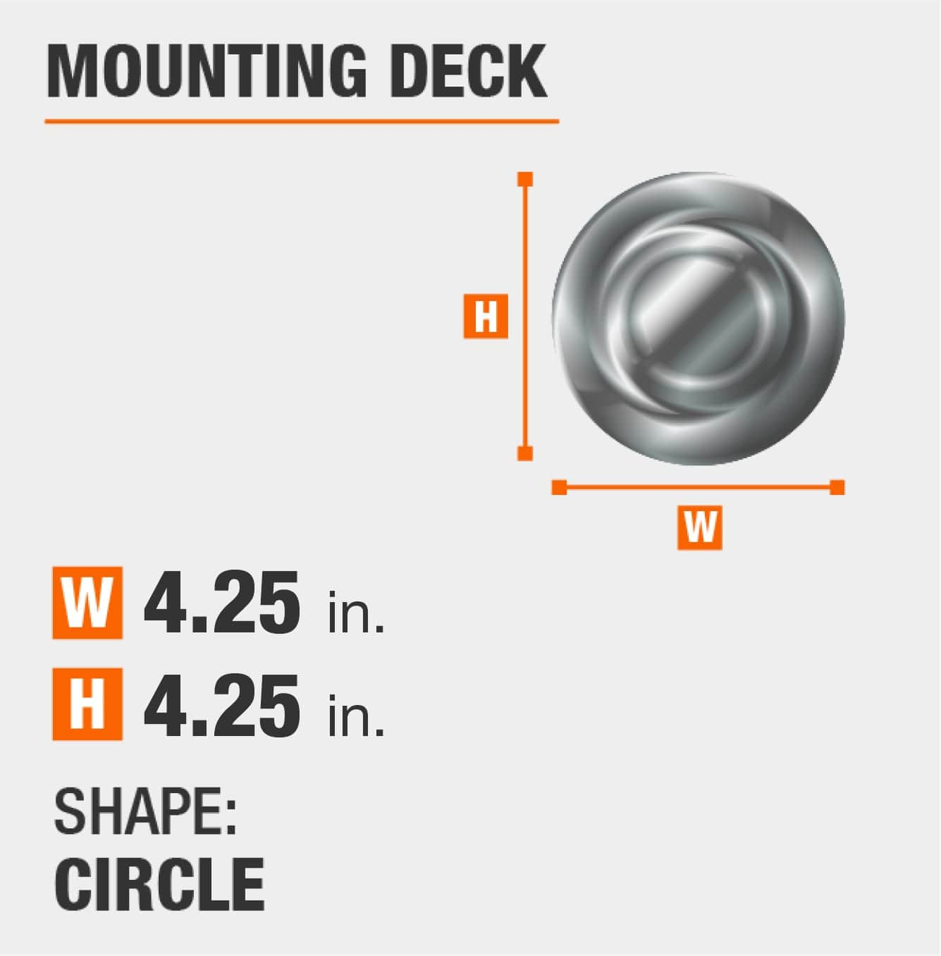 mounting deck is circular and 4.25 inches by 4.25 inches