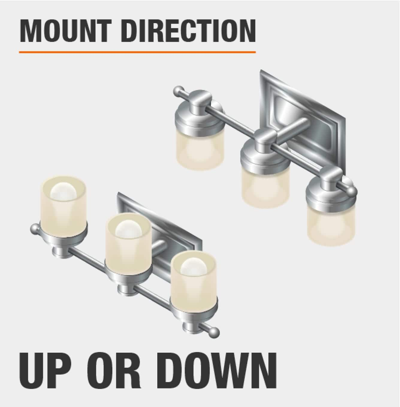 can be mounted in up or down facing configuration