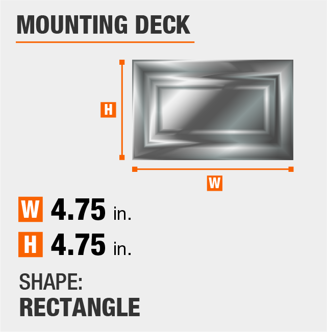 mounting deck is circular and 6.25 inches by 6.25 inches
