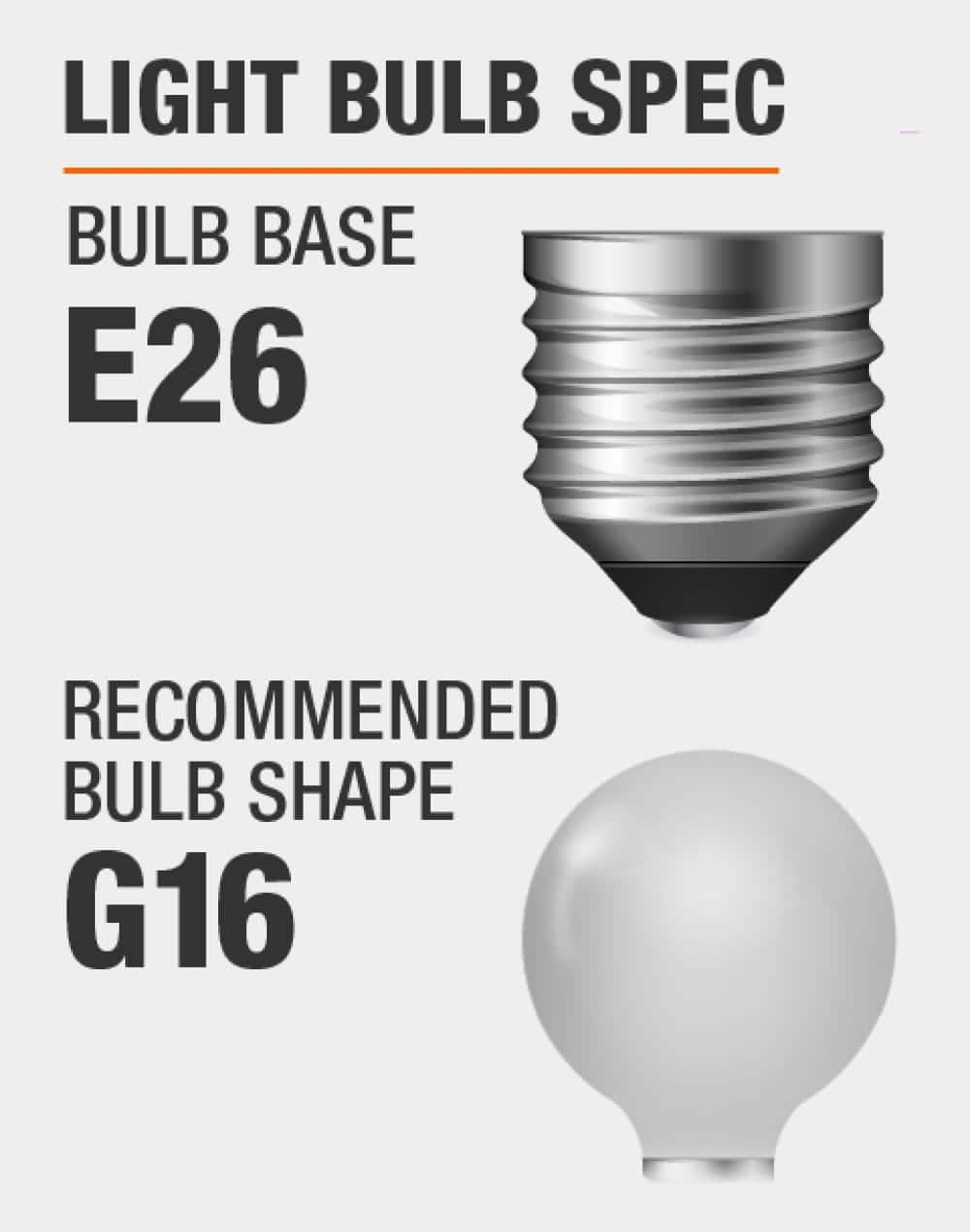 this fixture fits bulbs with E26 base and recommended bulb shape is G16