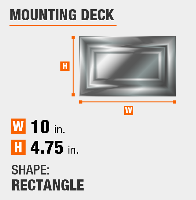 mounting deck is circular and 4.75 inches by 10 inches