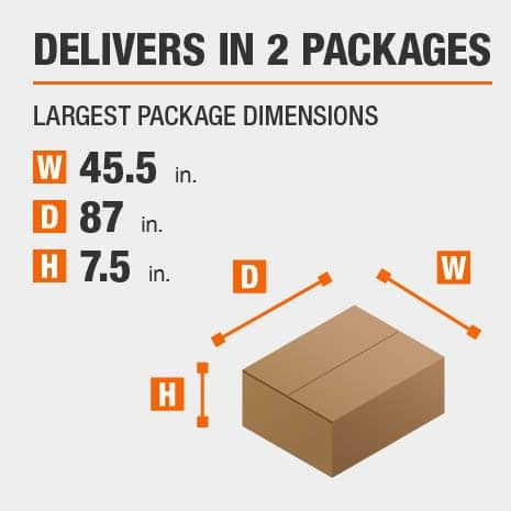 Delivers in 2 Packages with the Largest Package Dimensions of 45.5 inches wide, 87 inches deep, 7.5 inches high.