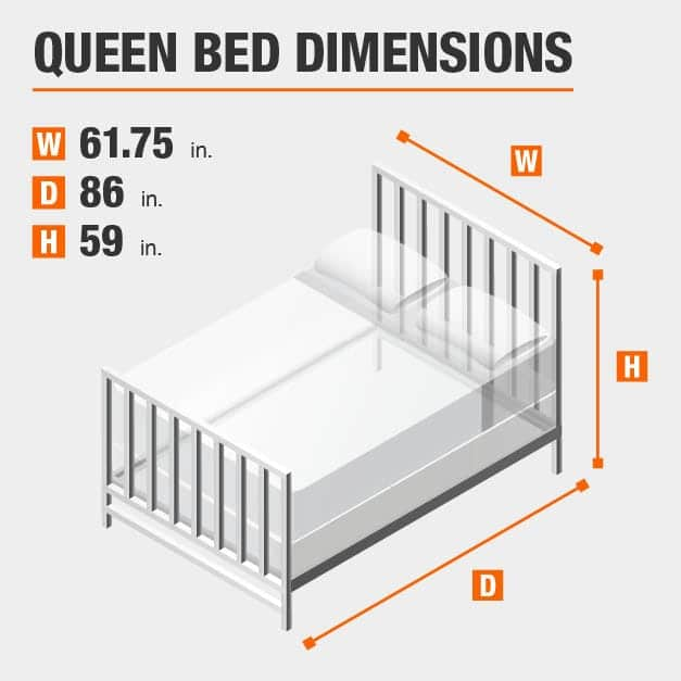 Queen Bed Dimensions of 61.75 inches wide, 86 inches deep, 59 inches high.