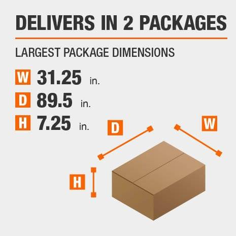 Delivers in 2 Packages with the Largest Package Dimensions of 31.25 inches wide, 89.5 inches deep, 7.25 inches high.