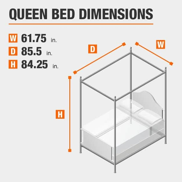 Queen Bed Dimensions of 61.75 inches wide, 85.5 inches deep, 84.25 inches high.