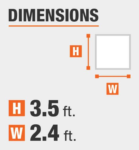 The dimensions are 3.5 ft. Height and 2.4 ft. width