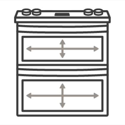 An icon of a double oven.Arrows measure the capacity of the ovens' cavities.