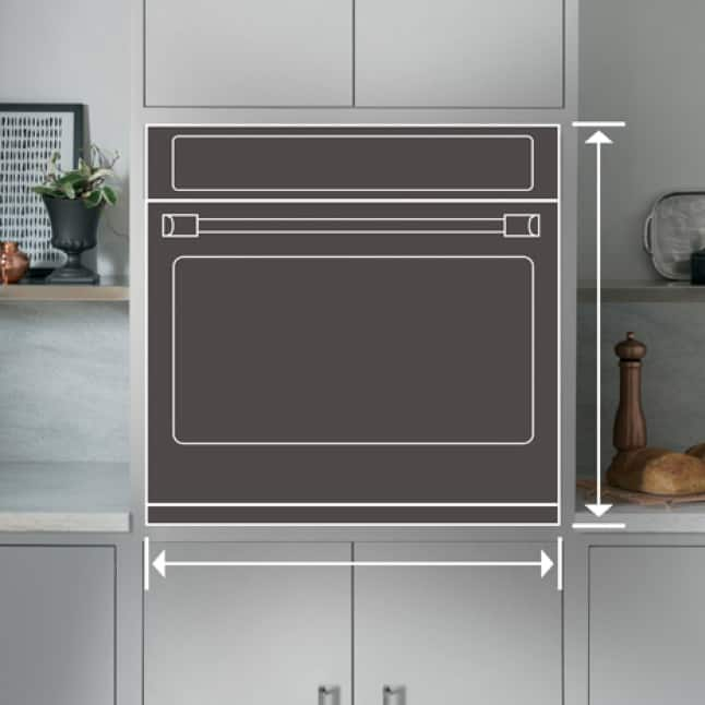 Lines draw an outline of a wall oven in an elegant kitchen.Arrows on the edges measure the area of the appliance