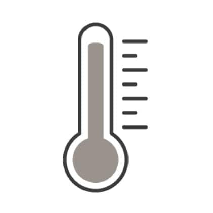 An icon of a thermometer.Notches on the side measure the temperature of the food.