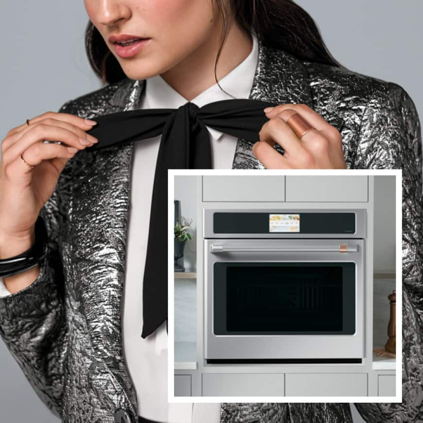 An image of a kitchen with sleek Cafe appliances is superimposed over a woman dressed in trendy clothes that match the kitchen.