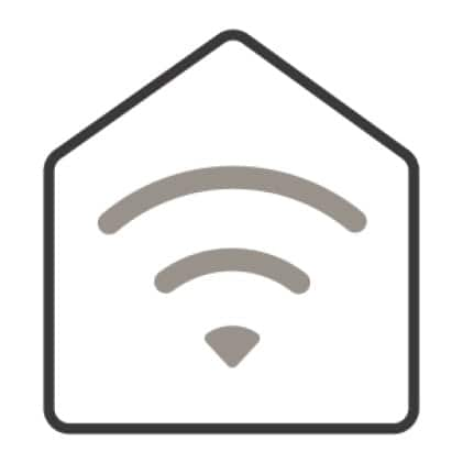 An icon of a stylized house. Waves emanate from the center of the house, showing the appliance's smart-home capabilities.