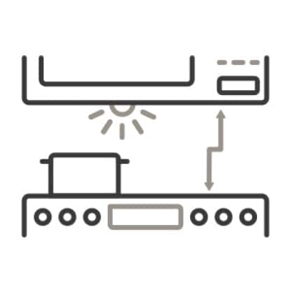 An icon of a microwave and stove. Arrows indicate synced clocks, lights and vents.