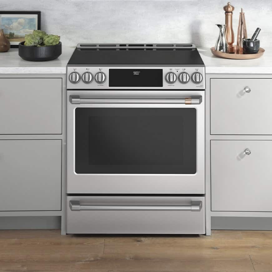 The appliance is ready to use, installed in a modern kitchen