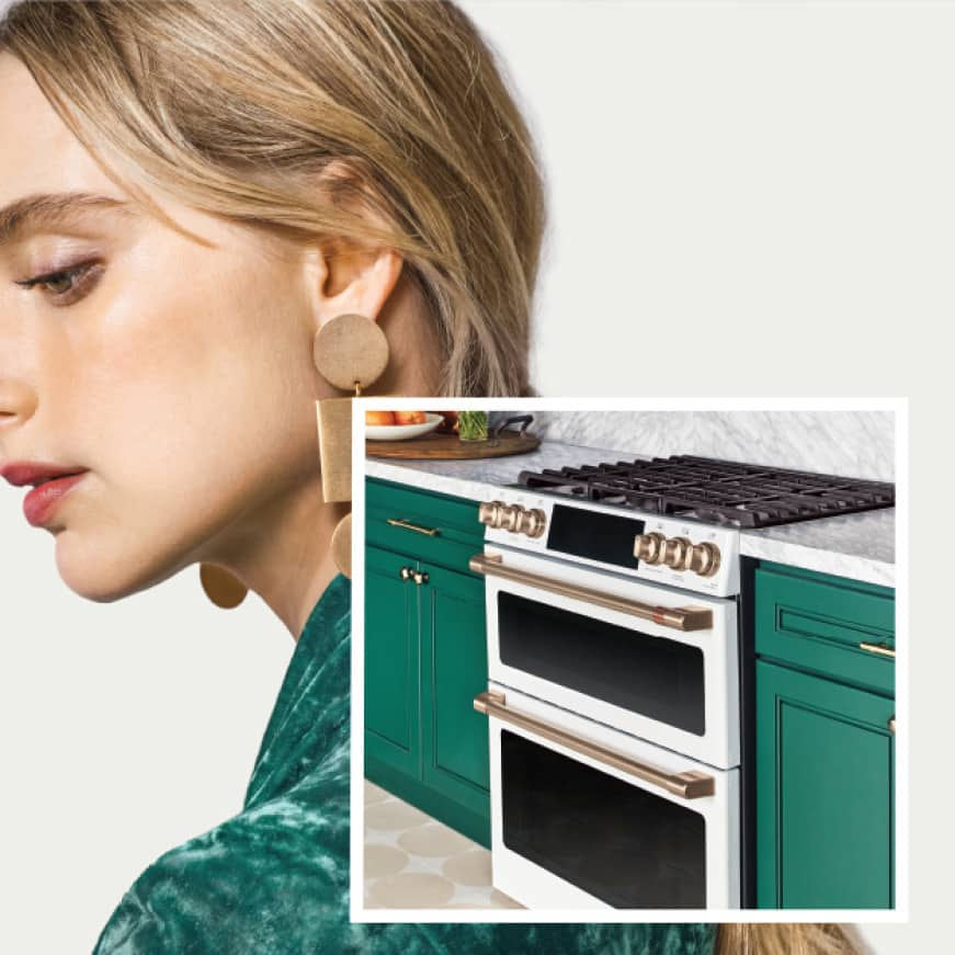Beauty shot of woman with image of Matte White gas double oven range in set