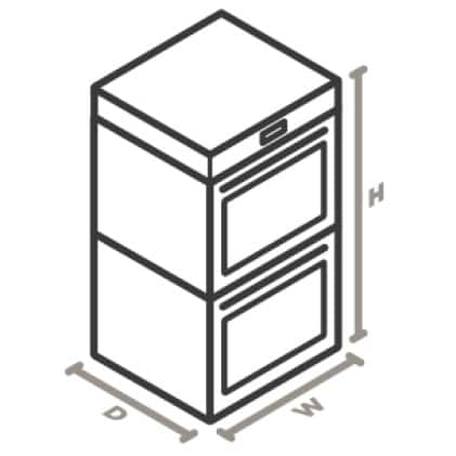 An icon of the appliance viewed from a corner looking down. Lines designate and measure the height, width, and depth of each side