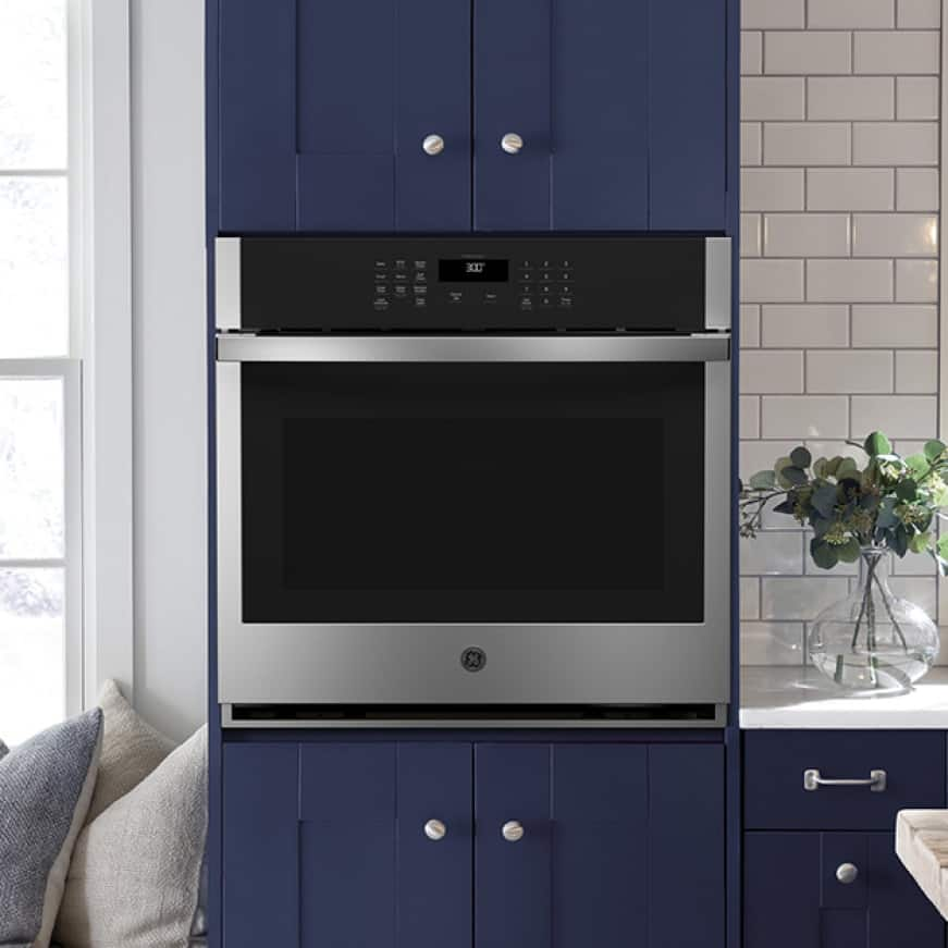 Beauty shot of single wall oven in kitchen