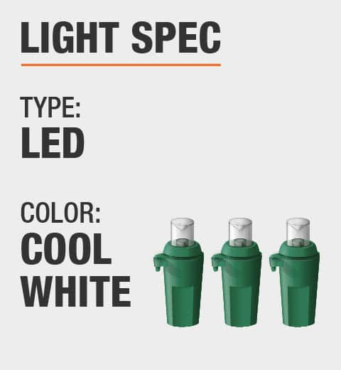 The light type is LED and the color is cool white