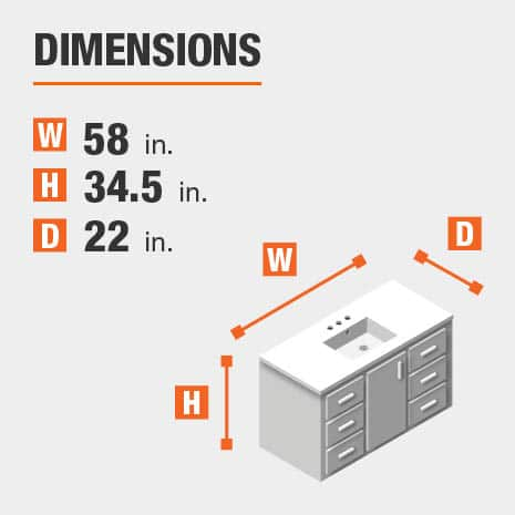 The dimensions of this bathroom vanity are 58.00 in. W x 34.50 in. H x 22.00 in. D