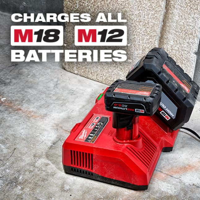 Charges every M18 or M12 battery at the pack's fastest possible speed, without compromising battery life