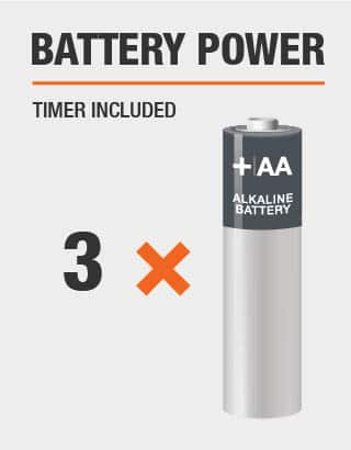 This product includes timer and is powered by 3 double A batteries