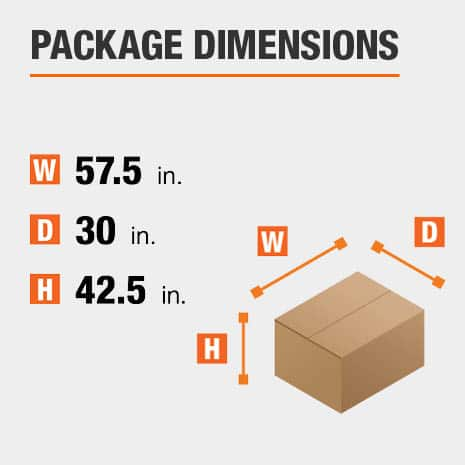 Shipment package is 57.5 inches wide, 30 inches deep, and 42.5 inches high