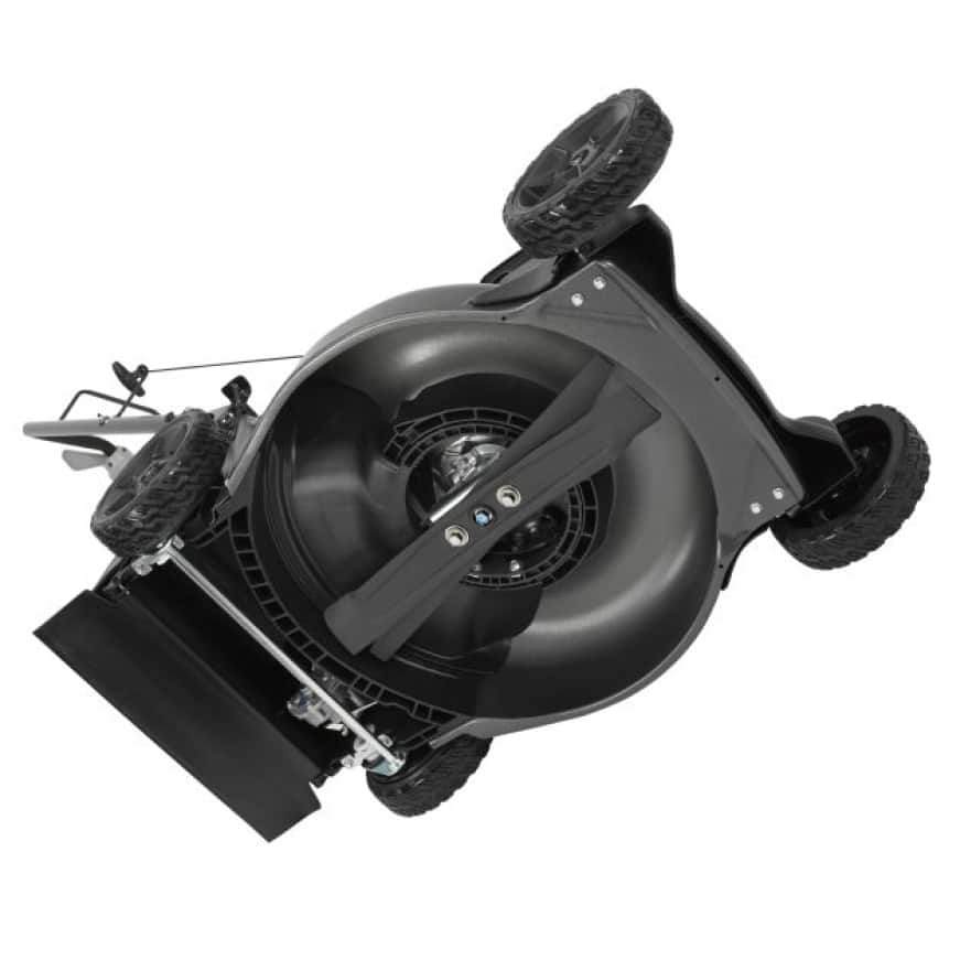 View of the bottom of the mower. The two blades are shown in the new design of the mower.