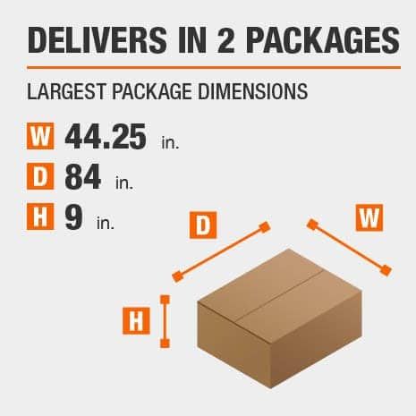 Delivers in 2 Packages with the Largest Package Dimensions of 44.25 inches wide, 84 inches deep, 9 inches high.