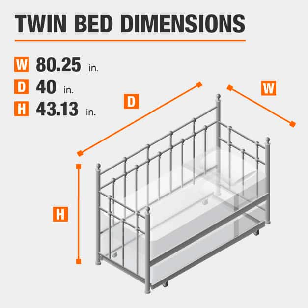 Twin Bed Dimensions of 80.25 inches wide, 40 inches deep, 43.13 inches high.
