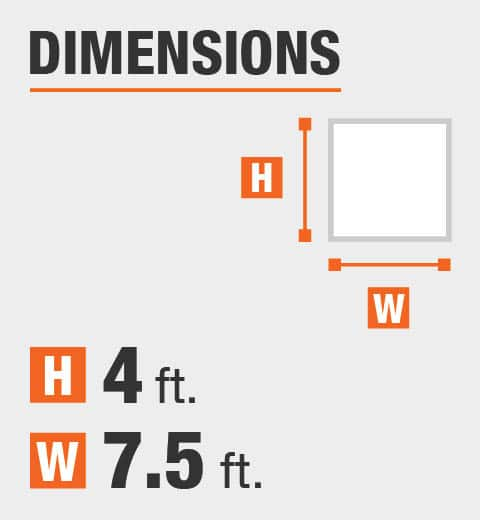 The dimensions are 4 ft. Height and 7.5 ft. width