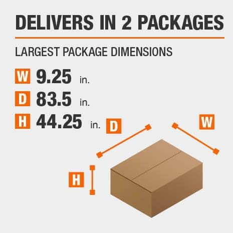 Delivers in 2 Packages with the Largest Package Dimensions of 9.25 inches wide, 83.5 inches deep, 44.25 inches high.