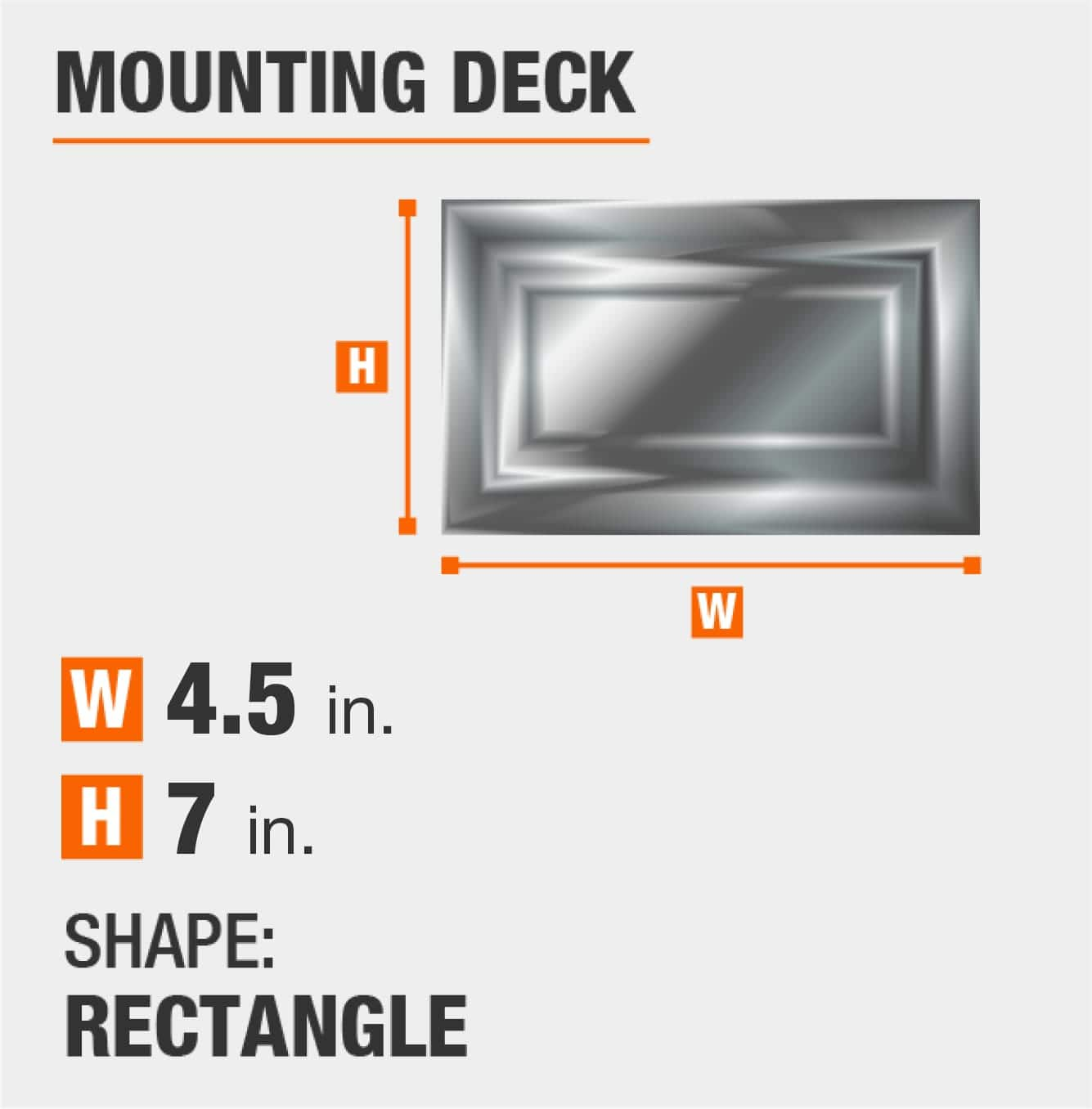 mounting deck is rectangular and 7 inches by 4.5 inches