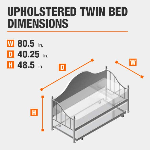 Upholstered Twin Bed Dimensions of 80.5 inches wide, 40.25 inches deep, 48.5 inches high.