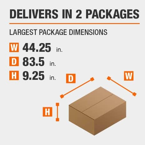 Delivers in 2 Packages with the Largest Package Dimensions of 44.25 inches wide, 83.5 inches deep, 9.25 inches high.