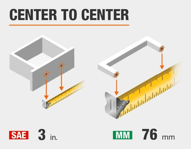Center to Center of 3 inches or 76 millimeters